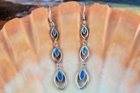 Real Sterling Silver 3 tier blue Opal marquise shape dangle wire earrings