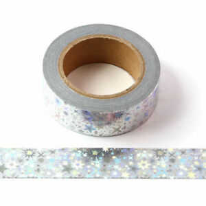 Holographic Colour Changing Silver Foil Stars Washi Tape 15mm x 10 Meters