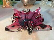 Vintage Cranberry & Blue Coloured European Art Glass Star Formed Bowl