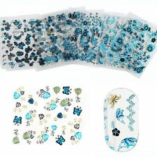 24 Sheets Adhesive DIY Manicure Nail Art Stickers 3D Butterfly Flower Decals