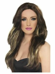 Smiffys Temptress Wig - Long and Wavy - Brown & Blonde Fancy Dress