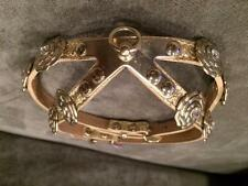 CHANEL Crystal Jewel Camellia Flower Gold Leather Dog Harness Collar $1650