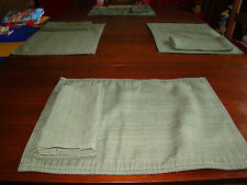 Green Cloth Placemats with Matching Cloth Napkins - Four - Cotton/Polyester