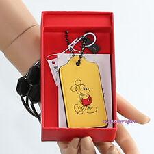 NWT Disney X Coach Mickey Mouse Yellow Leather Hang Tag Bag Charm Key Chain Fob