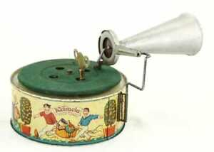 ANTIQUE GERMAN KEIMOLA CHILDRENS TINPLATE TOY PHONOGRAPH GRAMOPHONE