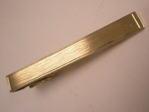 -Brushed Finish Gold Tone Plain Simple Vintage ANSON BRAND Tie Bar Clip