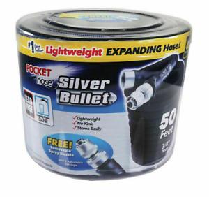 Pocket Hose 50ft Silver Bullet Expanding Black Garden Hose