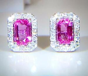Pink Sapphire & Diamond Earrings Halo Cluster, 18ct White Gold