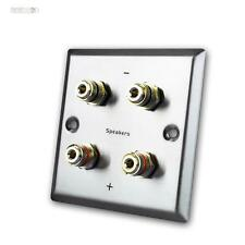 Wall Connection Panel for Speakers, 4 Banana Socket, Stainless Steel, Cover,