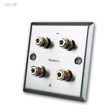Conexión panel para altavoces,4 Conectores tipo banana,Acero inox,Cubierta,Pared
