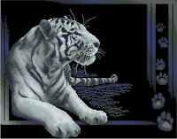 White tiger cross stitch kit on 14 count BLACK aida