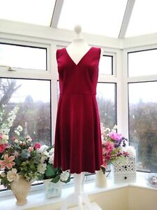 GORGEOUS NEW *MONSOON* SHORT RED VELVET KIMAYA FIT & FLARE PARTY DRESS Sz 18