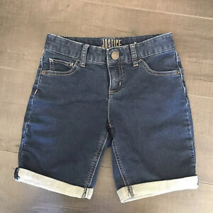 Girls Justice Jean Bermuda Shorts  Dark Blue Denim  Size 10 EUC
