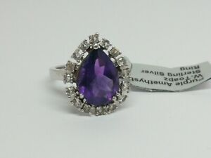 Amethyst & topaz ring Sterling Silver ring size O gift sparkly pretty purple L2.