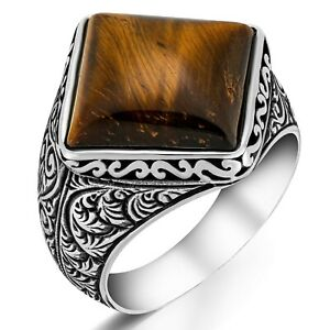 Solid 925 Sterling Silver Traditional Design Tiger Eye Stone Turkish Men's Ring