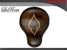 "La Rosa Harley Cross Bones Solo Seat - 16"" Rustic Brown Leather Tan Ace Inlay"