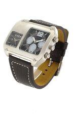 + Wristwatch °° UNISEX - UHR DUALTIMER  mit Lederarmband JB180412