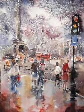 "BELLISSIMO sieri CAVALIERE Acquerello originale ""NEVE a Trafalgar Square"" PITTURA"