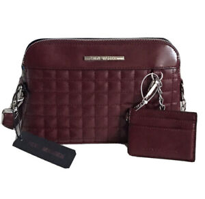 STEVE MADDEN Quilted Crossbody Bag Purse w/Credit Card ID Case, BMARTIN Wine