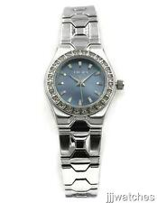 New Elgin Women Blue Mother Of Pearl Dial Crystals Dress Watch 25mm EG7070