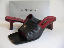 Nine West Black Kidskin Leather Reiko Sandals Red Heels Sz 7.5M NIB