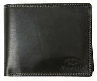 Men/'s large black nice quality genuine leather wallet HMT with a buckle