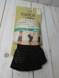 O5 New TOESOX Women's LOW RISE Half Toe Grip Toe Socks (Black) Med