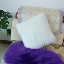 "1pcs Faux sheepskin Fur Square White Pillowcase Cushion 16x16""  fabric back US"
