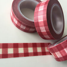 WASHI TAPE RED PLAID 15MM X 10MTR ROLL PLAN CRAFT SCRAP WRAP