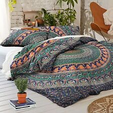 Doona Mandala Hippie Bohemian Queen Indian Duvet Quilt 2 pillow Cover Blanket AX