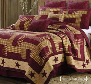 HOMESTEAD RED 3pc Full Queen QUILT SET : BARN STAR PRIMITIVE TAN FARMHOUSE CABIN