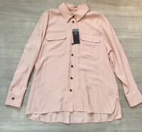 M&S NEW Pink Blush Long Sleeve Blouse Size 14 Button Down Fashion Blogger