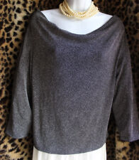 MADE IN HEAVEN Black White Tweed Slinky Draped Neck Top Sz L Travel Knit Blouse