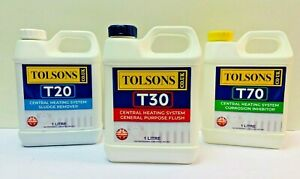 TOLSONS Set of 3 Radiator Boiler Central Heating System Flush Cleaner Inhibitor