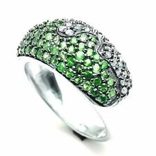 New Fashion 925 Sterling Silver Natural Emerald & White Topaz Women Ring Jewelry