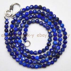 3mm Faceted Natural Blue Lapis Lazuli Round Gemstone Beads Necklace 16-30''