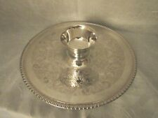 Vintage Wm. Rogers Silverplate Round Tray & Paul Revere Reproduction Sauce Cup