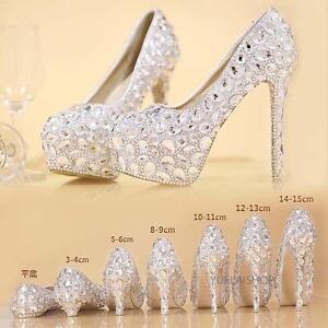 Luxury Womens Rhinestone High Heel Platform Bridal Wedding Crystal Dress Shoes