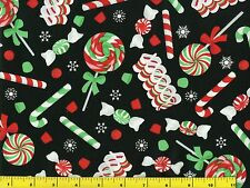 Red Green & White Christmas Candy on Black Quilting Fabric 1/2 Yard  #3102
