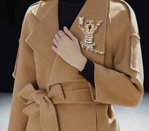 New Luxury Animal Tiger Clear Crystal Rhinestone  Brooch Pin Woman Gold-Tone