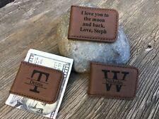 Personalized Money Clip Boyfriend Husband Anniversary Dad Grandpa Gifts Brown