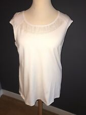 NWT CREAM STRETCH TOP WITH DETAILED NECKLINE BY PERSONAL CHOICE SZ 18 RRP £67
