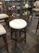 Frontgate Provencal Rooster Swivel BROWN Barstool Chair BAR Stool FABRIC SEAT