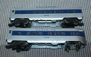 LIONEL O GAUGE BLUE STRIPE PASSENGER CARS Santa Fe 2412, 2416 Lot T