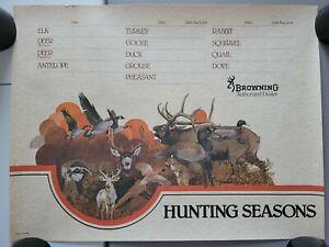 Vintage Browning Arms Co. Hunting Seasons Gun Store Display Advertising Poster
