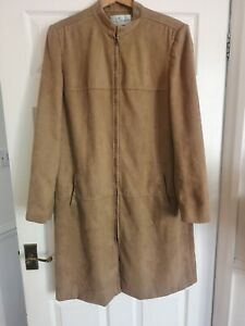 LADIES DESIGNER SUEDE Leather LONG JACKET BY J TAYLOR size 18 BNWT