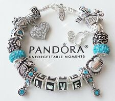 Authentic PANDORA Silver Charm Bracelet with Charms Beads Love! Crystal Heart!