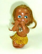 Vintage Rubber Kissing doll w/ necklace and blue eyes 1960s, 12cm