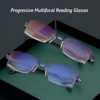 Anti Blue Light Rimless Progressive Multifocal Reading Glasses Computer Goggles