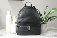 Michael Kors Kenly Medium Pebbled Leather Black Zip Backpack Bookbag